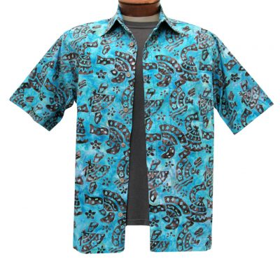Men's Basic Options Batik Short Sleeve 100% Cotton Button Front Shirt, #61844-7 Brown/Blue