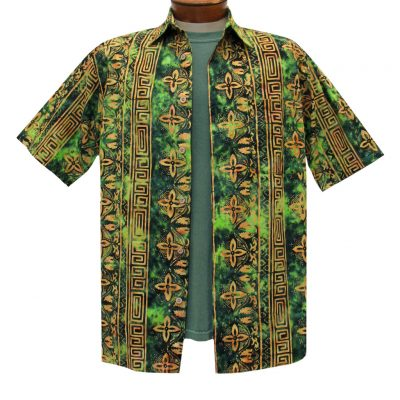 Men's Basic Options Batik Short Sleeve 100% Cotton Button Front Shirt, #61948-4 Olive