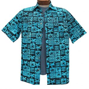 Men's Basic Options Batik Short Sleeve 100% Cotton Button Front Shirt, #61952-3 Black/Turquoise (L, ONLY!)