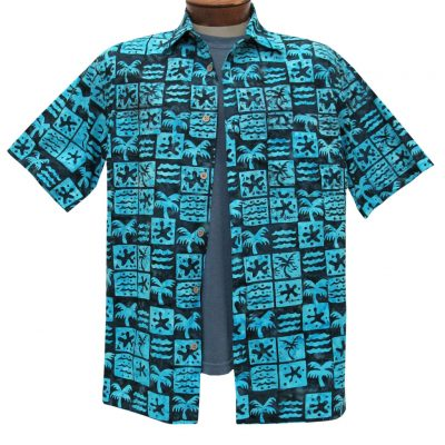 Men's Basic Options Batik Short Sleeve 100% Cotton Button Front Shirt, #61952-3 Black/Turquoise