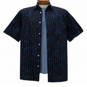 Men's Basic Options Batik Short Sleeve 100% Cotton Button Front Shirt, #61955-1 Black/Indigo