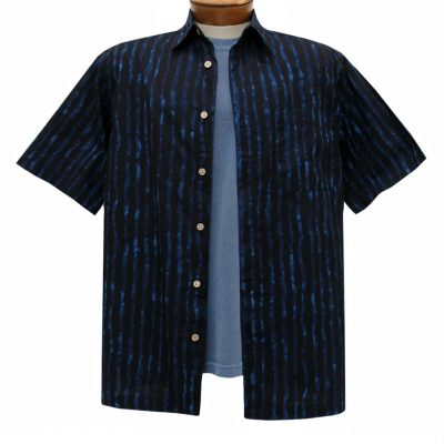 Men's Basic Options Batik Short Sleeve 100% Cotton Button Front Shirt, #61955-1 Black/Indigo