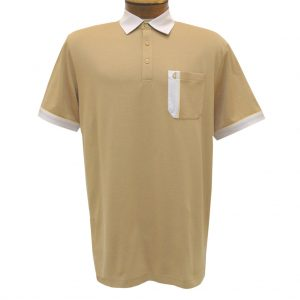 Men's Gabicci Polo Shirt, Short Sleeve Knit With Hard Collar, #X11 Butterscotch With Oat
