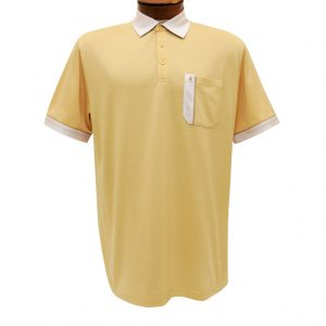 Men's Gabicci Polo Shirt, Short Sleeve Knit With Hard Collar, #X11 Cheddar With Oat