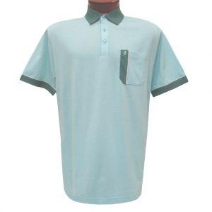 Men's Gabicci Polo Shirt, Short Sleeve Knit With Hard Collar, #X11 Mist With Aloe