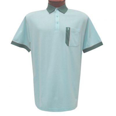 Men's Gabicci Polo Shirt, Short Sleeve Knit With Hard Collar, #X11 Mist With Aloe