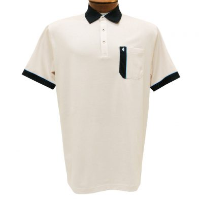 Men's Gabicci Polo Shirt, Short Sleeve Knit With Hard Collar, #X11 Oat With Navy