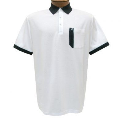 Men's Gabicci Polo Shirt, Short Sleeve Knit With Hard Collar, #X11 White With Navy