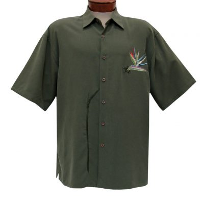 Men's Bamboo Cay Short Sleeve Embroidered Modal Blend Aloha Shirt, Blooming Bird Of Paradise #WB0706 Olive