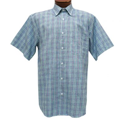 Mens Cotton Traders 100% Cotton Short Sleeve Woven Sport Shirt #2700-201 Blue