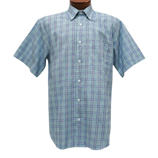 Mens Cotton Traders 100% Cotton Short Sleeve Woven Sport Shirt #2700-201 Blue