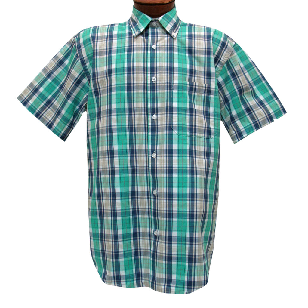 Mens Cotton Traders 100% Cotton Short Sleeve Woven Sport Shirt #2700-202 Aqua