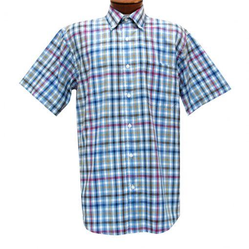Mens Cotton Traders 100% Cotton Short Sleeve Woven Sport Shirt #2700-203 Marine