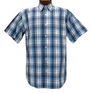 Mens Cotton Traders 100% Cotton Short Sleeve Woven Sport Shirt #2700-208 Blue