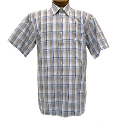 Mens Cotton Traders 100% Cotton Short Sleeve Woven Sport Shirt #2700-209 Taupe