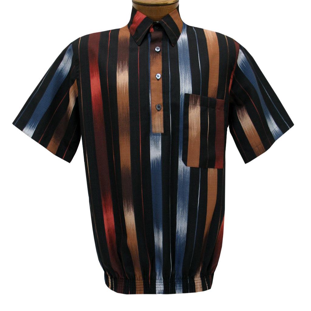 Men's D'Accord Banded Bottom Short Sleeve Linen Look Shirt, #6337 Multi