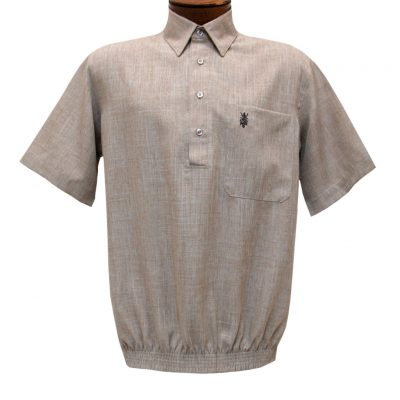 Men's D'Accord Banded Bottom Short Sleeve Linen Look Shirt, #6441 Beige Heather