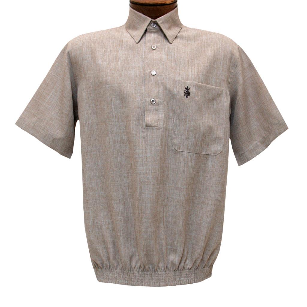Men's D'Accord Banded Bottom Short Sleeve Linen Look Shirt, #6441 Beige Heather
