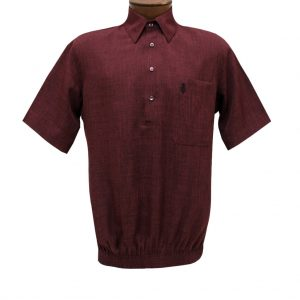 Men's D'Accord Banded Bottom Short Sleeve Linen Look Shirt, #6441 Burgundy Heather