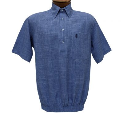 Men's D'Accord Banded Bottom Short Sleeve Linen Look Shirt, #6441 Denim Heather