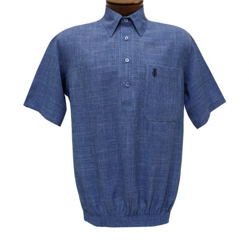 Men's D'Accord Banded Bottom Short Sleeve Linen Look Shirt, #6441 Denim Heather