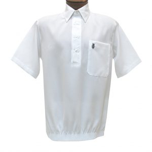 Men's D'Accord Banded Bottom Short Sleeve Linen Look Shirt, #6441 White (SOLD OUT!)