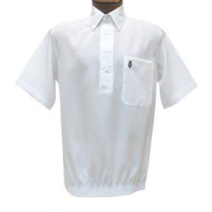 Men's D'Accord Banded Bottom Short Sleeve Linen Look Shirt, #6441 White