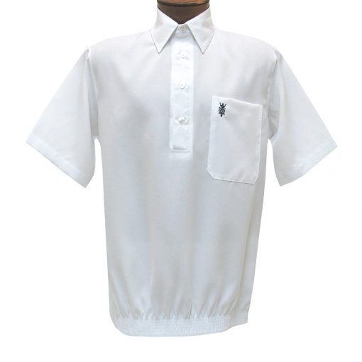 Men's D'Accord Banded Bottom Short Sleeve Linen Look Shirt, #6441 White