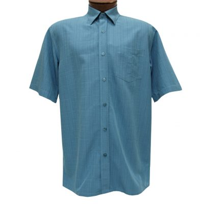 Men's F/X Fusion Short Sleeve Textured Solid Woven Sport Shirt, #1013 Aqua