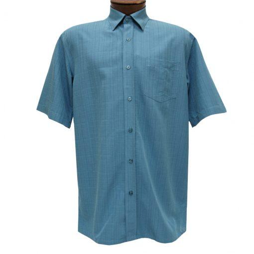 Men's F/X Fusion Short Sleeve Textured Solid Woven Sport Shirt, #1013 Aqua
