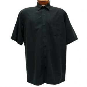 Men's F/X Fusion Short Sleeve Textured Solid Woven Sport Shirt, #1013 Black (M, ONLY!)