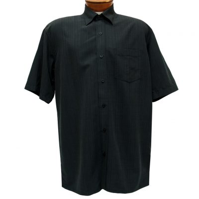 Men's F/X Fusion Short Sleeve Textured Solid Woven Sport Shirt, #1013 Black