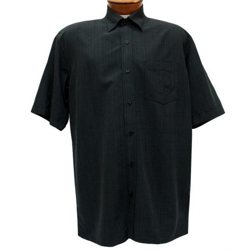 Men's F/X Fusion Short Sleeve Textured Solid Woven Sport Shirt, #1013 Black