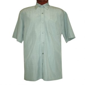Men's F/X Fusion Short Sleeve Textured Solid Woven Sport Shirt, #1013 Mint