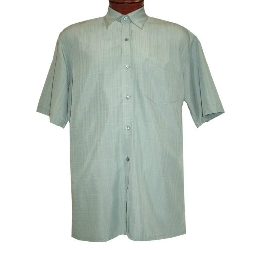 Men's F/X Fusion Short Sleeve Textured Solid Woven Sport Shirt, #1013 Mint