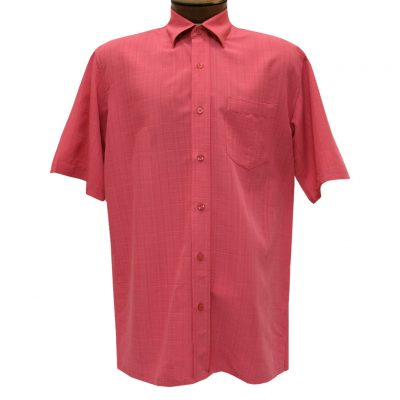 Men's F/X Fusion Short Sleeve Textured Solid Woven Sport Shirt, #1013 Red