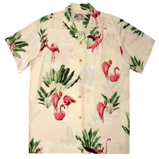 Mens Paradise Found Aloha Short Sleeve Hawaiian Camp Shirt, Flamingo Beige