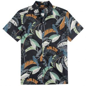 Men's Tori Richard Brown Label Cotton Lawn Relaxed Fit Short Sleeve Shirt, Kipling #ME02 Black (L & XL, ONLY!)