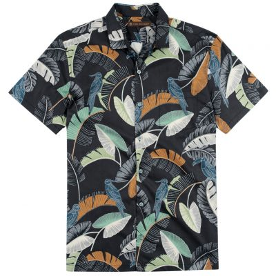Men's Tori Richard Brown Label Cotton Lawn Relaxed Fit Short Sleeve Shirt, Kipling #ME02 Black