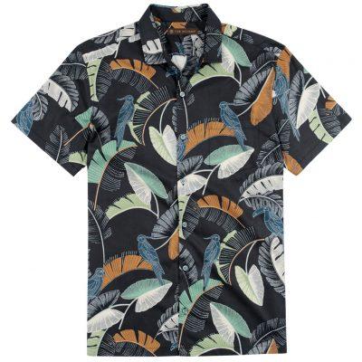 Men's Tori Richard Brown Label Cotton Lawn Relaxed Fit Short Sleeve Shirt, Kipling #ME02 Black