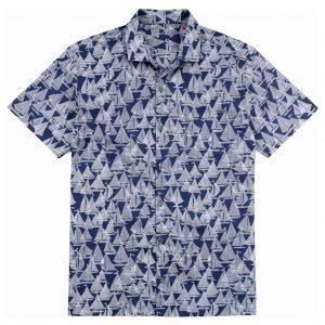Men's Tori Richard Brown Label Cotton Lawn Relaxed Fit Short Sleeve Shirt, Regatta #ME03 Navy (L, ONLY!)