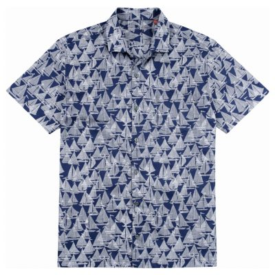 Men's Tori Richard Brown Label Cotton Lawn Relaxed Fit Short Sleeve Shirt, Regatta #ME03 Navy
