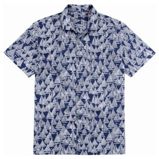 Men's Tori Richard Brown Label Cotton Lawn Relaxed Fit Short Sleeve Shirt, Regatta #ME03 Navy