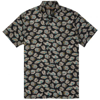 Men's Tori Richard Brown Label Cotton Lawn Relaxed Fit Short Sleeve Shirt, Shoal Mates #ME14 Black