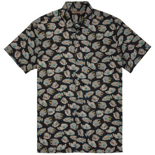 Men's Tori Richard Brown Label Cotton Lawn Relaxed Fit Short Sleeve Shirt, Shoal Mates #ME14 Black