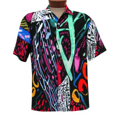 Men's Jams World Short Sleeve Original Crushed Rayon Retro Aloha Shirt, Illusion