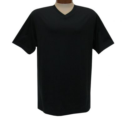 Men's Pima Cotton High V-Neck Tee Shirt, By Gionfriddo International #GK2005 Black