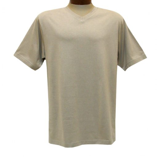 Men's Pima Cotton High V-Neck Tee Shirt, By Gionfriddo International #GK2005 Khaki