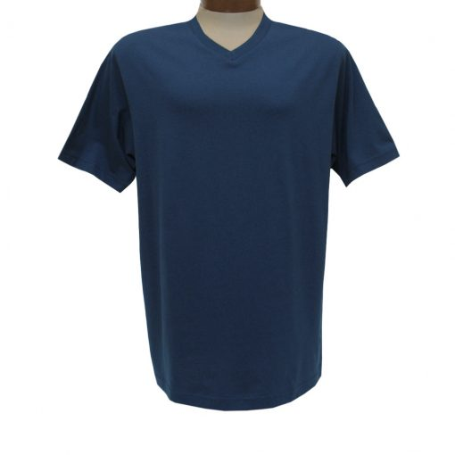 Men's Pima Cotton High V-Neck Tee Shirt, By Gionfriddo International #GK2005 Sapphire Blue