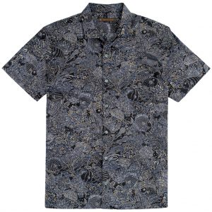 "Men's Tori Richard Brown Label Cotton Lawn Relaxed Fit Short Sleeve Shirt, Coral Garden #MF06 Black ""USE COUPON TR2 AT CHECK OUT"""